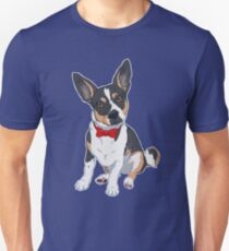 Dapper Rat Terrier Dog - Blue Background / bow tie fancy tricolor ratter cute Unisex T-Shirt