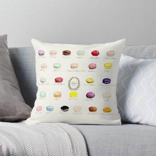 Laduree Macarons Flavor Menu Throw Pillow