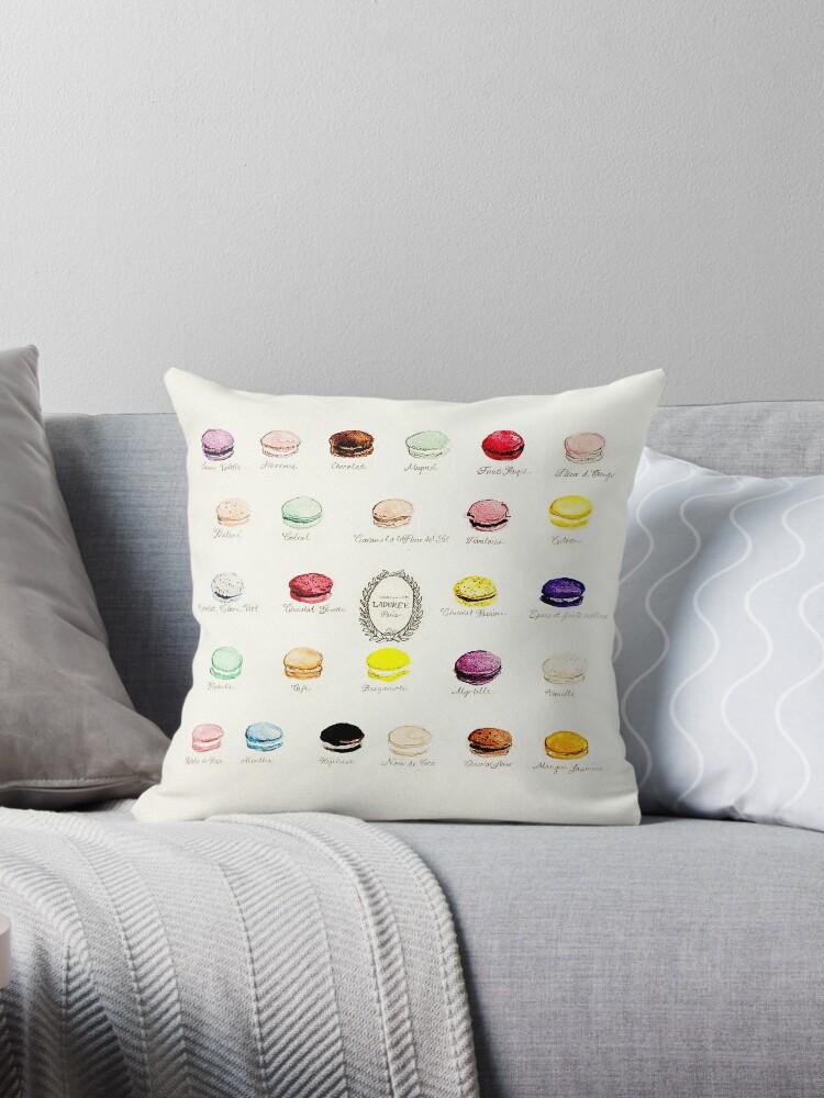 Laduree Macarons Flavor Menu Throw Pillow By Sweetprovidence Redbubble