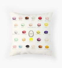 Laduree Macarons Flavor Menu Throw Pillow