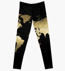 black and gold world map Leggings