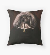 Portrait of a White-furred Dog Throw Pillow