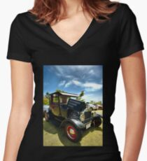 Model A Ford Hot Rod Women's Fitted V-Neck T-Shirt