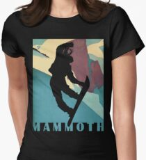 Snowboarding Betty at Mammoth, winter sport travel art Womens Fitted T-Shirt