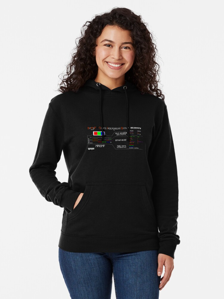 Alternate view of a mini BMP (white text) Lightweight Hoodie