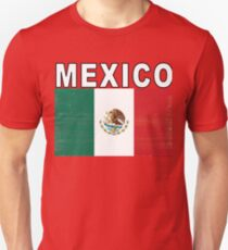 Mexico Distressed Flag Retro Soccer Tee Unisex T-Shirt