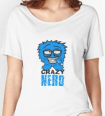 logo nerd geek schlau hornbrille zahnspange freak pickel haarig monster wuschelig verrückt lustig comic cartoon zottelig crazy cool gesicht  Women's Relaxed Fit T-Shirt