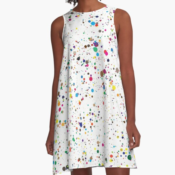 colorful paint splatter confetti A-Line Dress