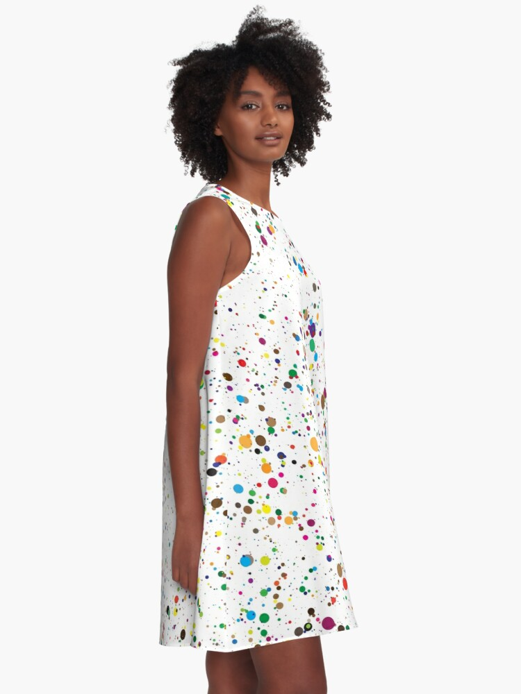 Alternate view of colorful paint splatter confetti A-Line Dress