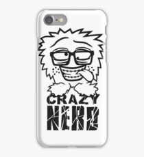 logo nerd geek schlau hornbrille zahnspange freak pickel haarig monster wuschelig verrückt lustig comic cartoon zottelig crazy cool gesicht  iPhone Case/Skin