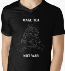 Camiseta para hombre de cuello en v Iroh: Haz que el té no sea la guerra