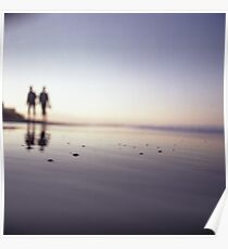 Two people walking on beach on summer evening Hasselblad medium format film analog photograph Poster