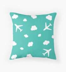 Flying High : Airplane Cloud Sky Design Print Throw Pillow