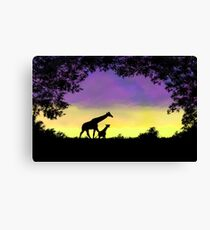 Mother and baby giraffe at sunset Canvas Print