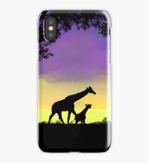 Mother and baby giraffe at sunset iPhone Case/Skin