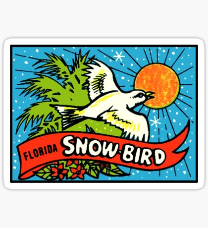 Florida Snow Bird Vintage Travel Decal Sticker