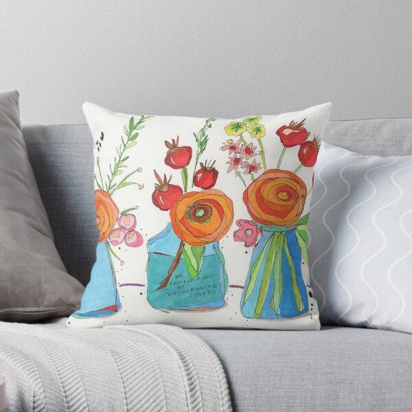 Encouraging Flowers Throw Pillow