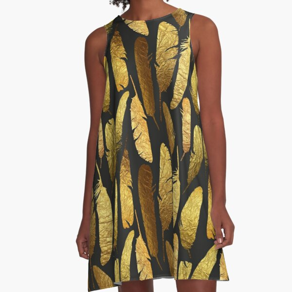 - Golden feathers - A-Line Dress