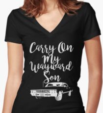 Carry on my Wayward Son - Supernatural Women's Fitted V-Neck T-Shirt