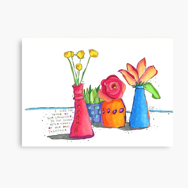 Colorful Bud Vases with Flowers Canvas Print
