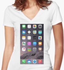 iPhone Homescreen Women's Fitted V-Neck T-Shirt