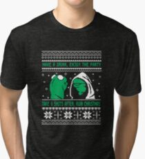Funny Kermit Ugly Christmas Sweater Tri-blend T-Shirt