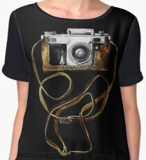 Watercolor vintage camera in leather case Chiffon Top