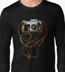 Watercolor vintage camera in leather case Long Sleeve T-Shirt