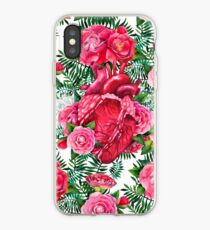 Watercolor pattern with heart and cammelias iPhone Case