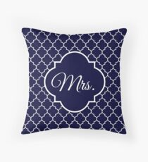Mrs. Pillow Navy Blue Quatrefoil Throw Pillow