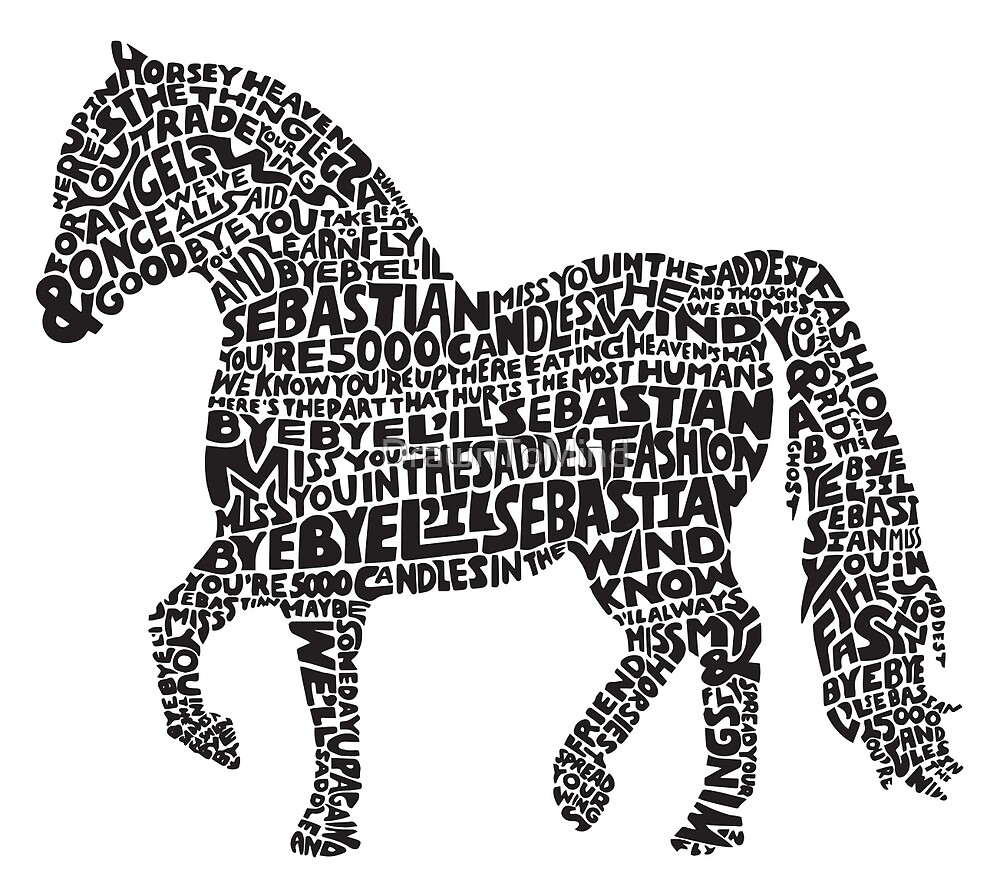 Bye Bye Lil Sebastian Calligram // Parks & Recreation by DrawnToMind