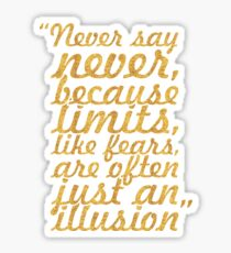 "Never say never... ""Michael Jordan"" Inspirational Quote Sticker"