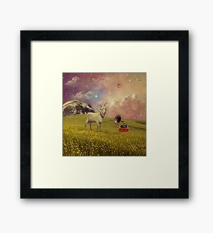Transdimensional Space Goat Framed Print