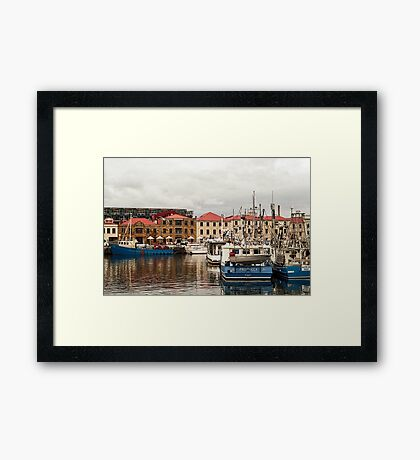 A Winter Waterfront Scene Framed Print