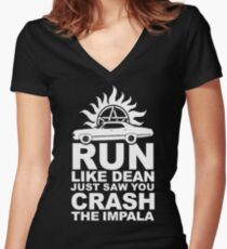 Run like Dean just saw you crash the Impala Women's Fitted V-Neck T-Shirt