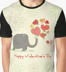 Elephant and Mouse Story of Love Valentine 2017 T-Shirt Graphic T-Shirt