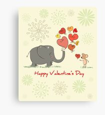 Elephant and Mouse Story of Love Valentine 2017 T-Shirt Canvas Print