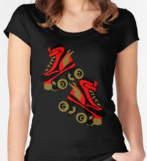 Cool golden roller skates Roller Derby Women's Fitted Scoop T-Shirt
