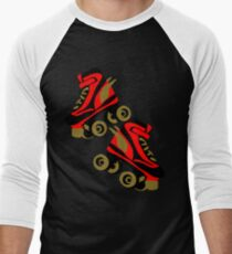 Cool golden roller skates Roller Derby Men's Baseball ¾ T-Shirt