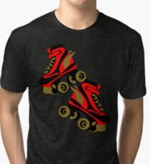 Cool golden roller skates Roller Derby Tri-blend T-Shirt