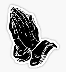 Praying to God (Hands Silhouette Symbol, Icon) Sticker
