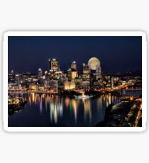 Moon Rise Over Pittsburgh Sticker