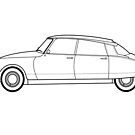Citroen DS19 Line Drawing Artwork by RJWautographics