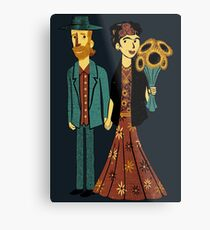 Love is Art Frida Kahlo and Van Gogh Metal Print
