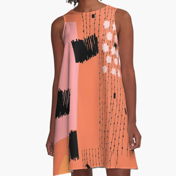 Clementine // Abstract Scribble Retro A-Line Dress