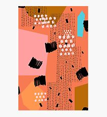 Clementine // Abstract Scribble Retro Photographic Print