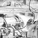 Citroën D Series Engine Bay Black & White Negative by BRogers