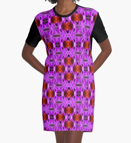 Purple And Gold Pattern Graphic T-Shirt Dress