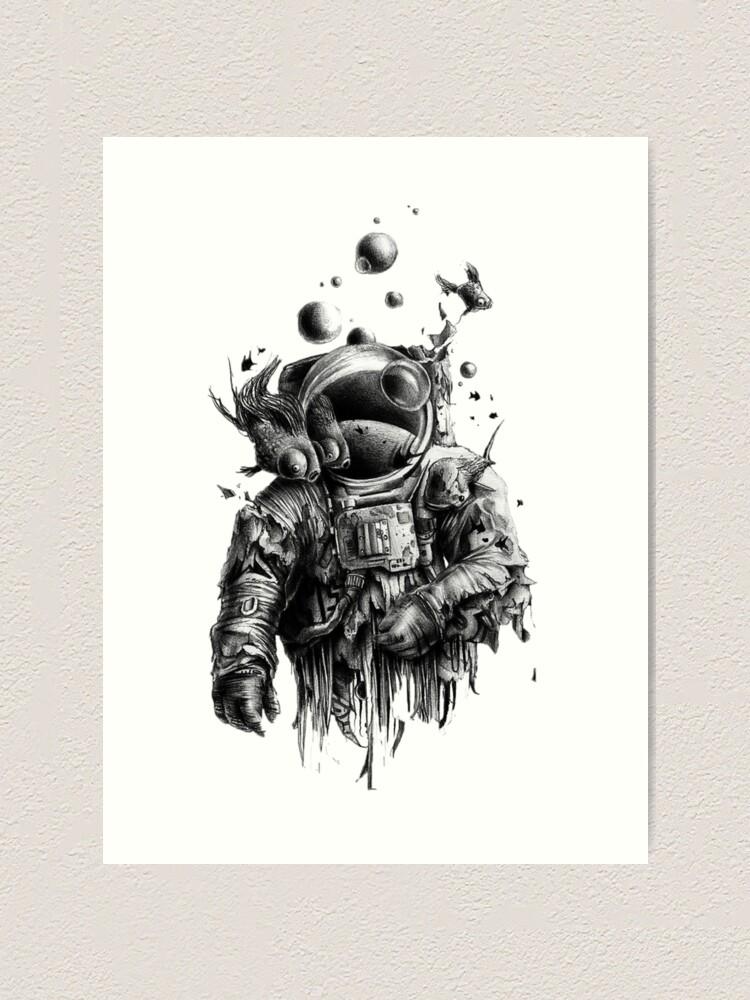 Undead Astronaut Floating In Space Art Print By Juicypeachxx