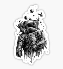 Undead astronaut floating in space Sticker